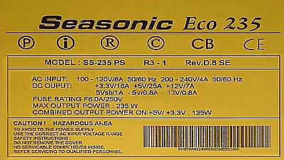 Seasonic model: SS-235PS nieprawidłowy start zasilacza.