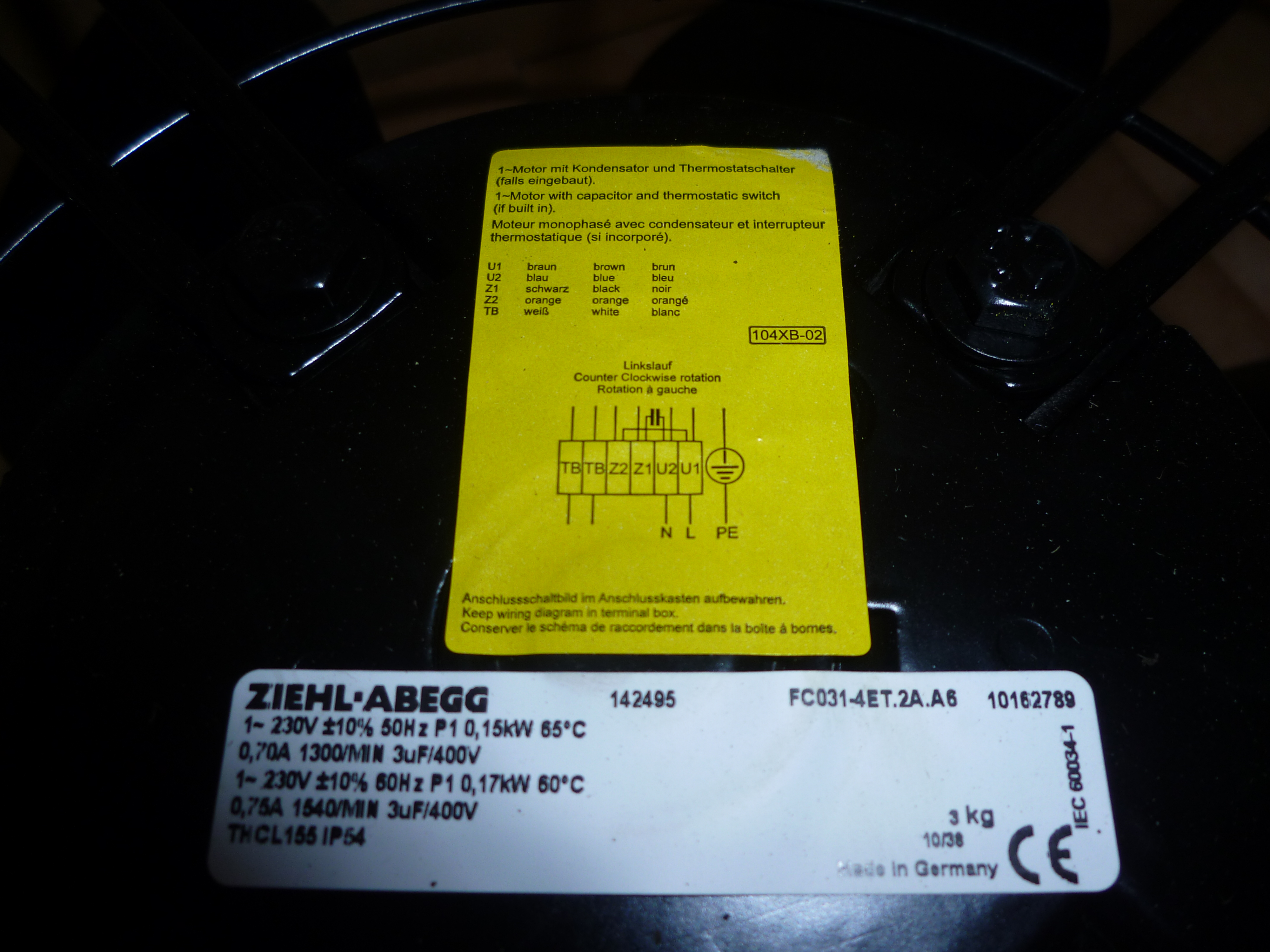Silnik jednofazowy firmy ZIEHL-ABEGG     Jak pod��czy�?