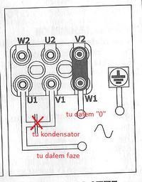 Silnik 3 fazowy po pod��czeniu z kondensatorem do 230V nie startuje