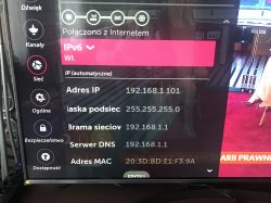 TV lg connected to the router but no internet