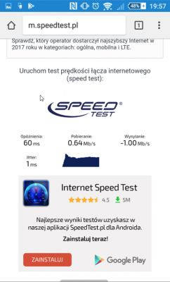 Słaby internet T-Mobile LTE 60 Mb/s. Router b525.