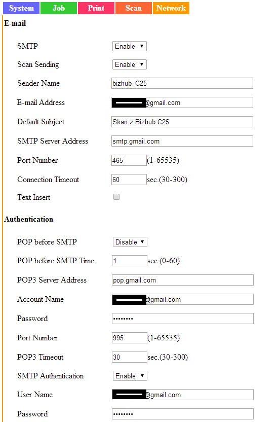 Bizhub C25 - Konfiguracja wysy�ania na email