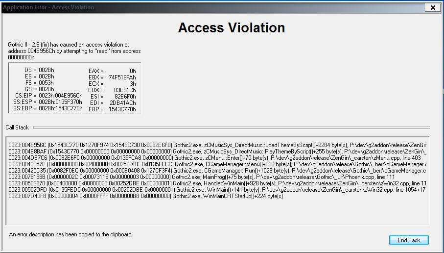 Access violation at address gothic