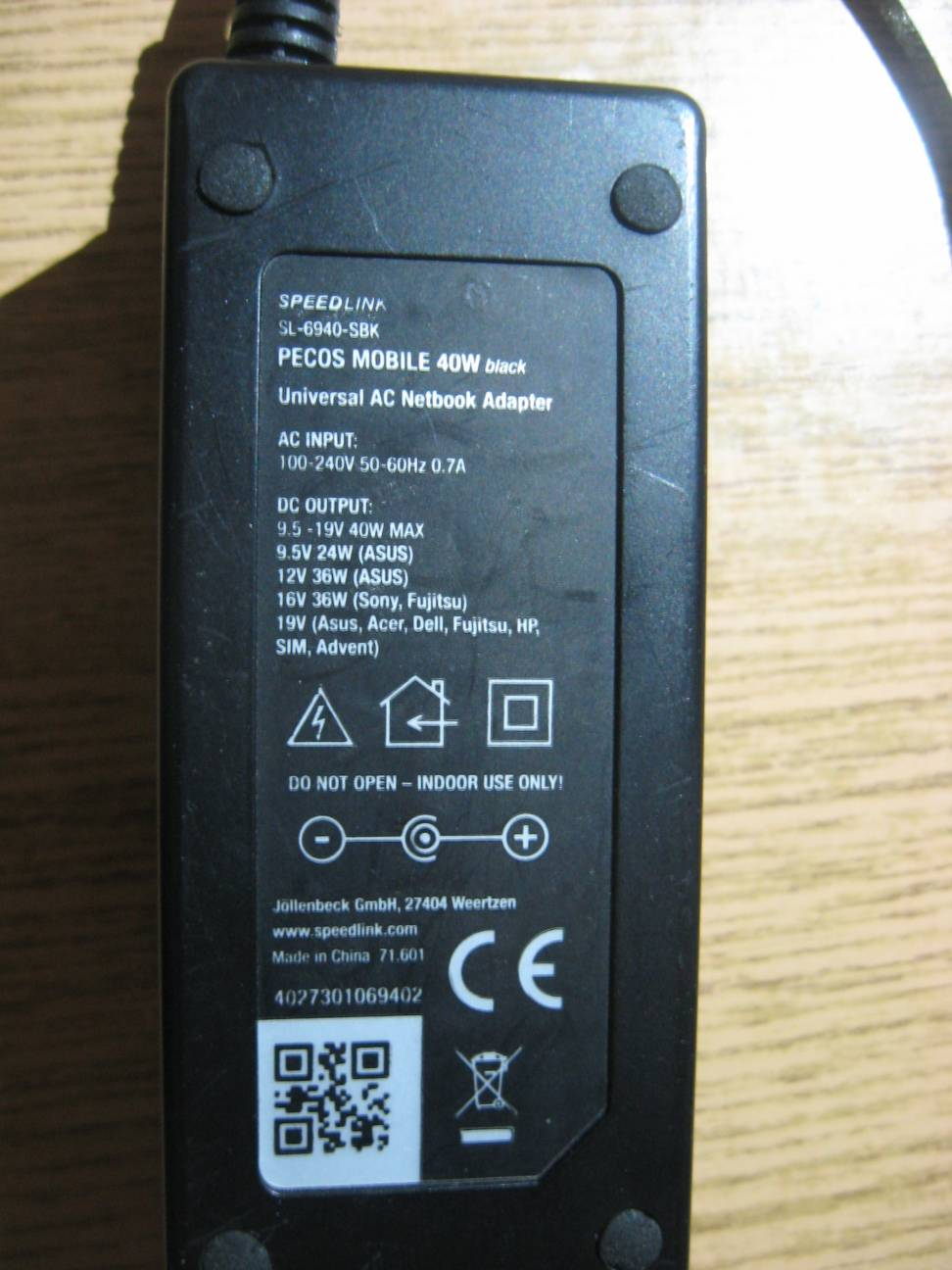 SPEED-LINK model: SL-6940-SBK - Brak ko�c�wki w zasilaczu uniwersalnym