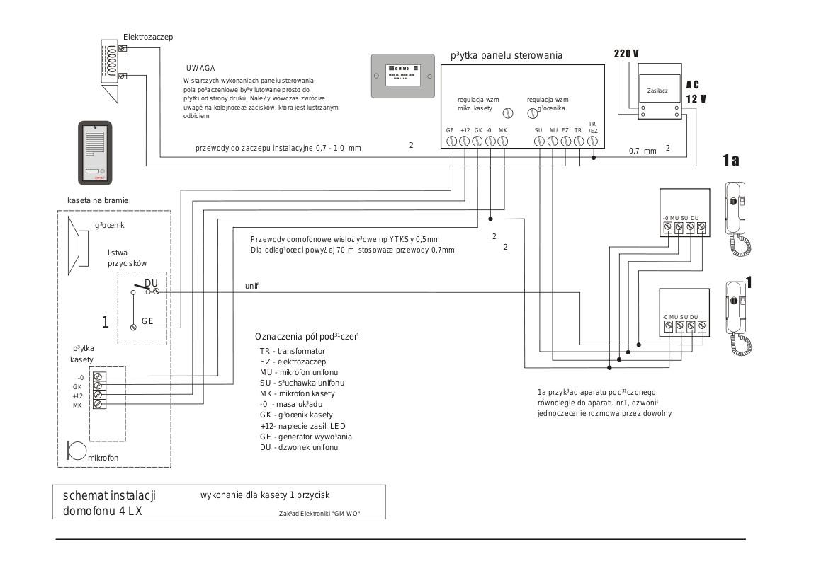 ORNO OR-DOM-RE-914 - Po��czenie kasety zewn�trznej z central� Fenix 4LX II