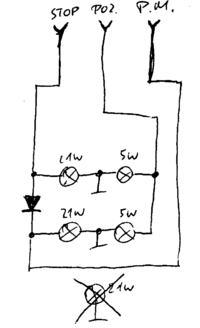 Żarówka pozycji/stop jako przeciwmgielne. Odłączanie sygnałów.