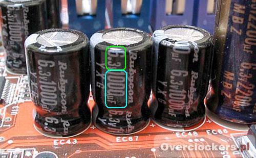 Wymiana kondensatora na płycie głównej - parametry kondensatora