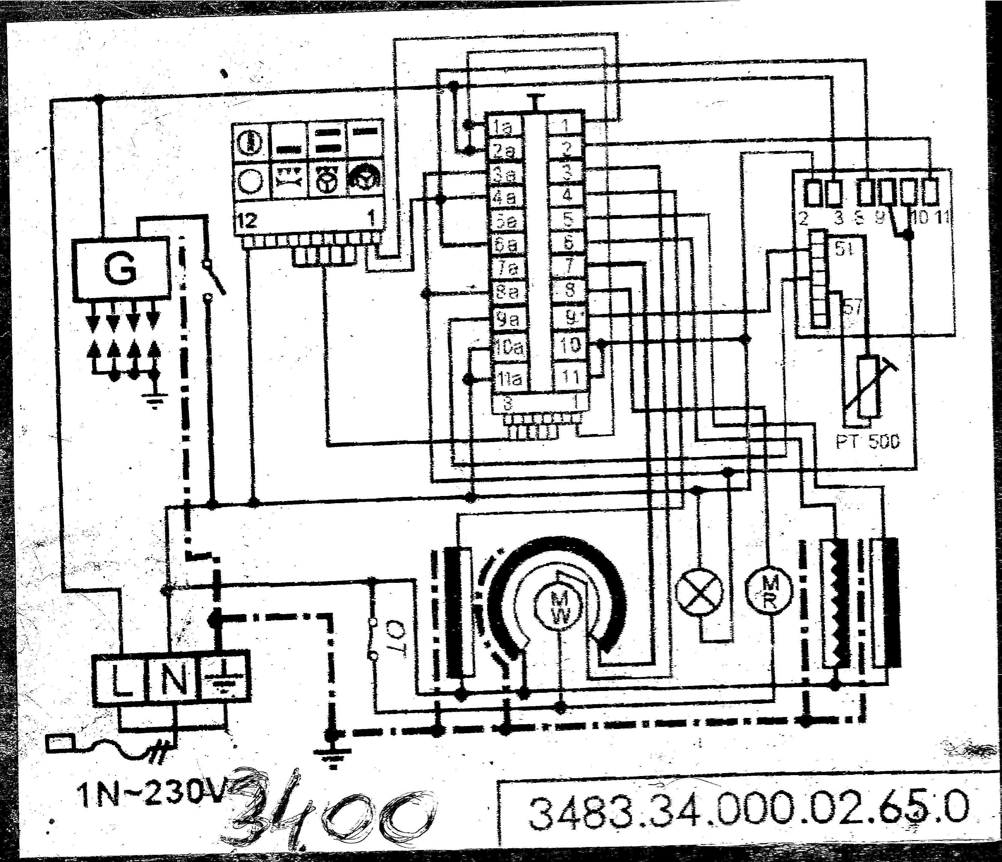 Schemat podłaczenia Łacznika krzywkowego mastercook 3400 -> Kuchenka Gazowa Mastercook Wrozamet Temperatura Piekarnika