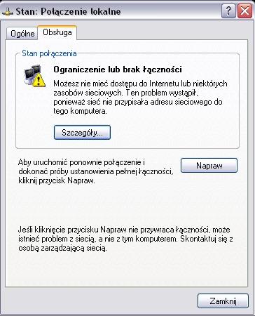 Komputer nie może pobrać adresu sieciowego