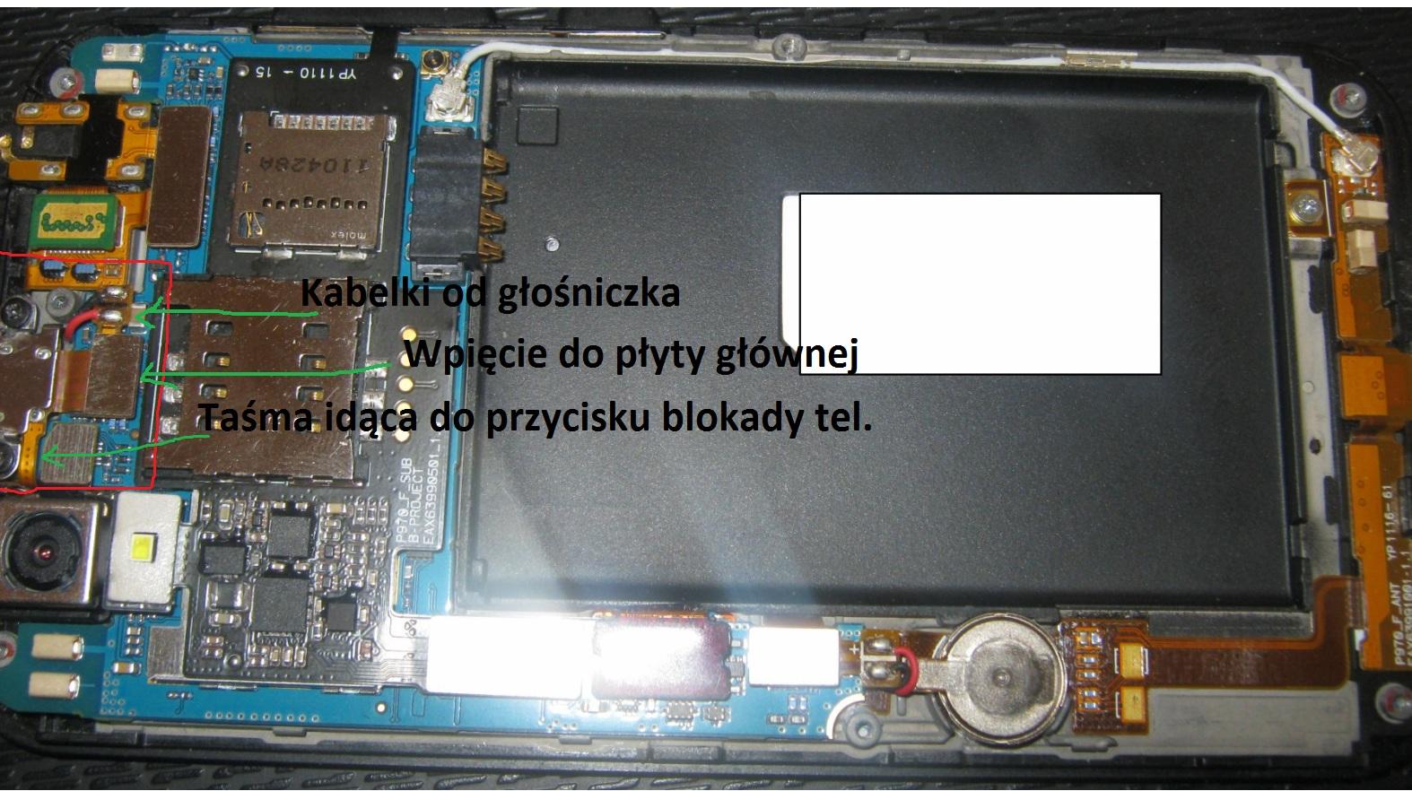 LG Swift Black P970 - Nie dzia�aj�cy przycisk blokady telefonu/power + g�o�nik