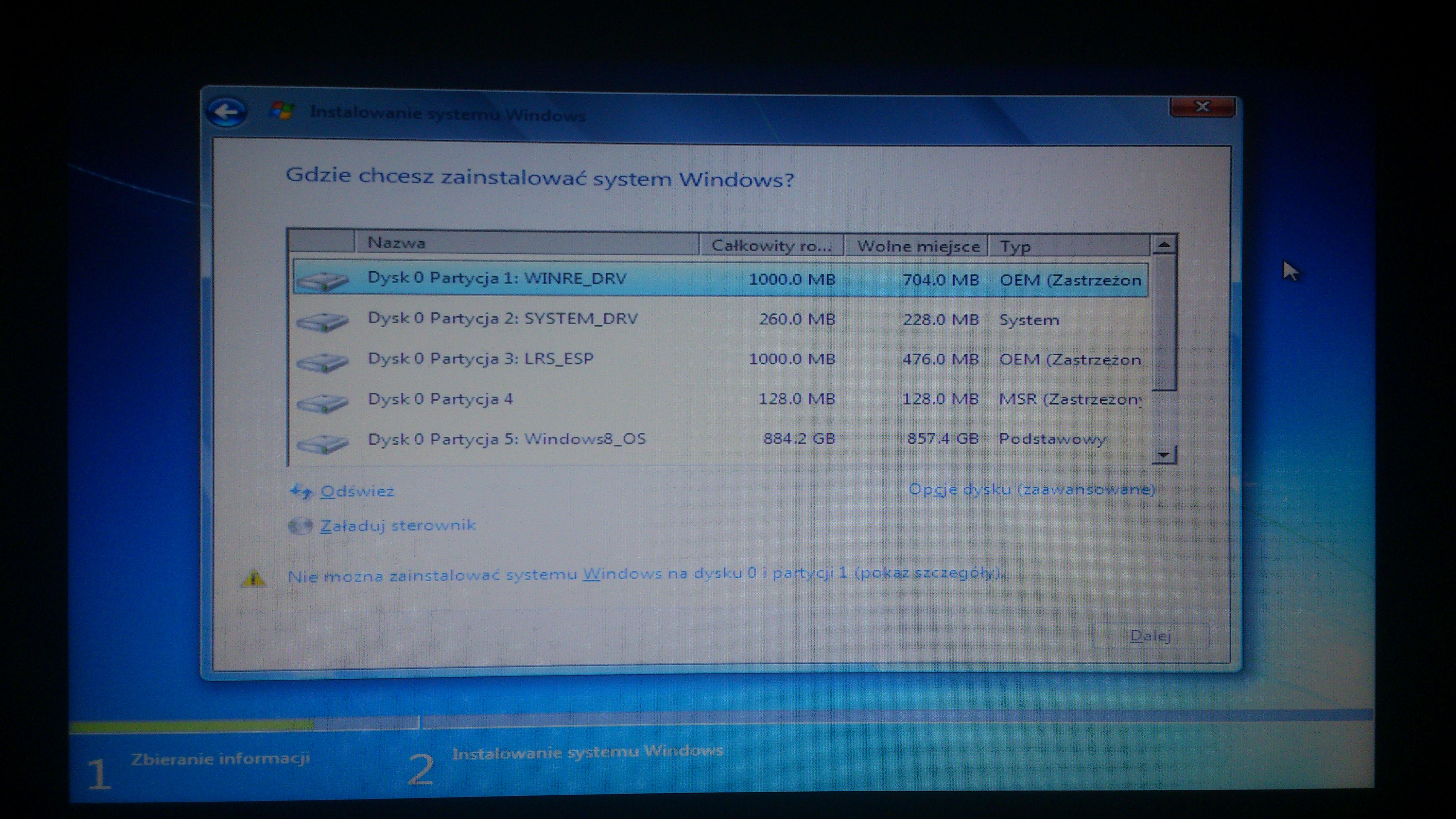 Lenovo G580 - Instalacja systemu Windows 7 zamiast Windows 8