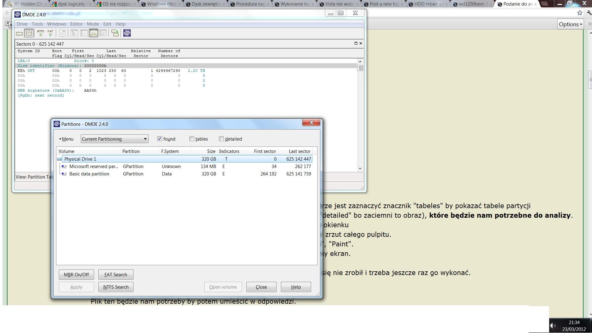 Dysk SATA WD3200BEVT - Windows 7 chce go formatowa�