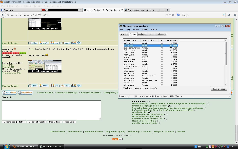 Mozilla Firefox 21.0 - Pobiera du�o pami�ci ram.