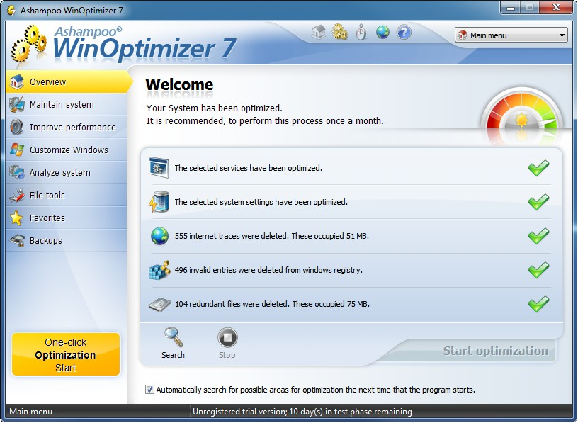 Ashampoo WinOptimizer 8.13 - optymalizacja systemu Windows