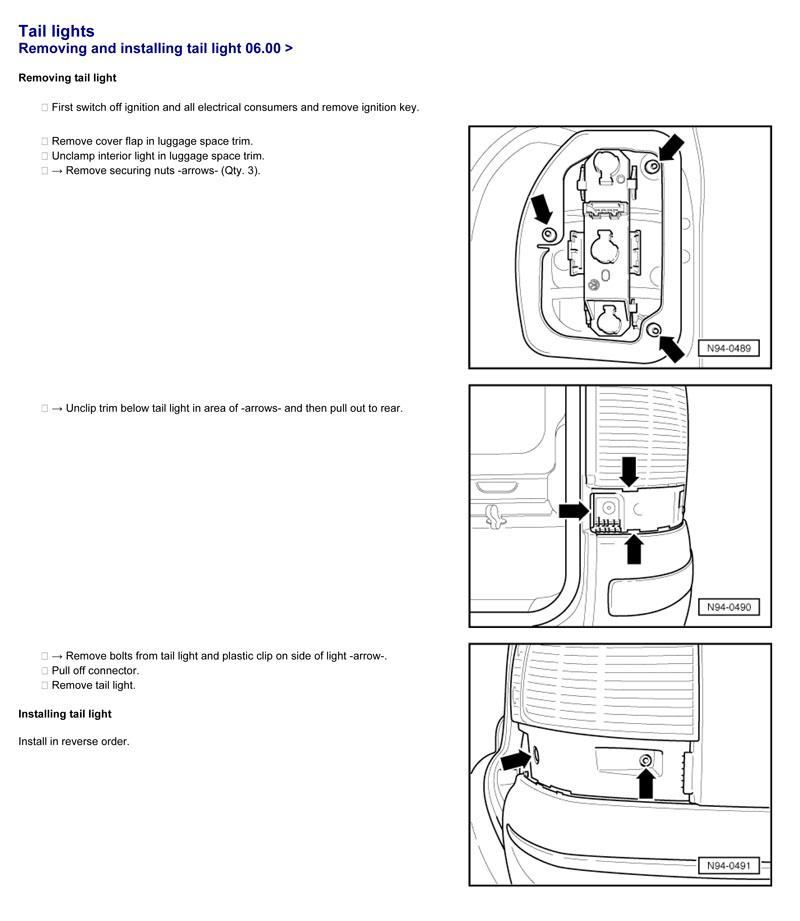 VW Sharan po 2005 - szukam instrukcji wymiany tylnej lampy