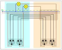 2 podwójne wyłączniki schodowe - sposób połączenia
