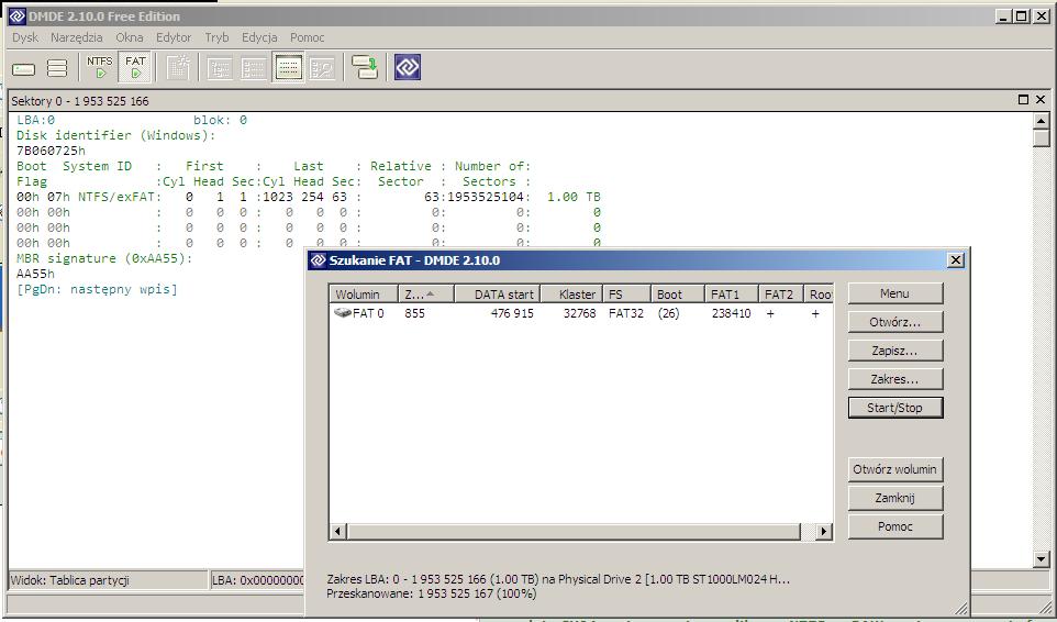 ADATA Classic CH94 1TB - System nie wykrywa partycji
