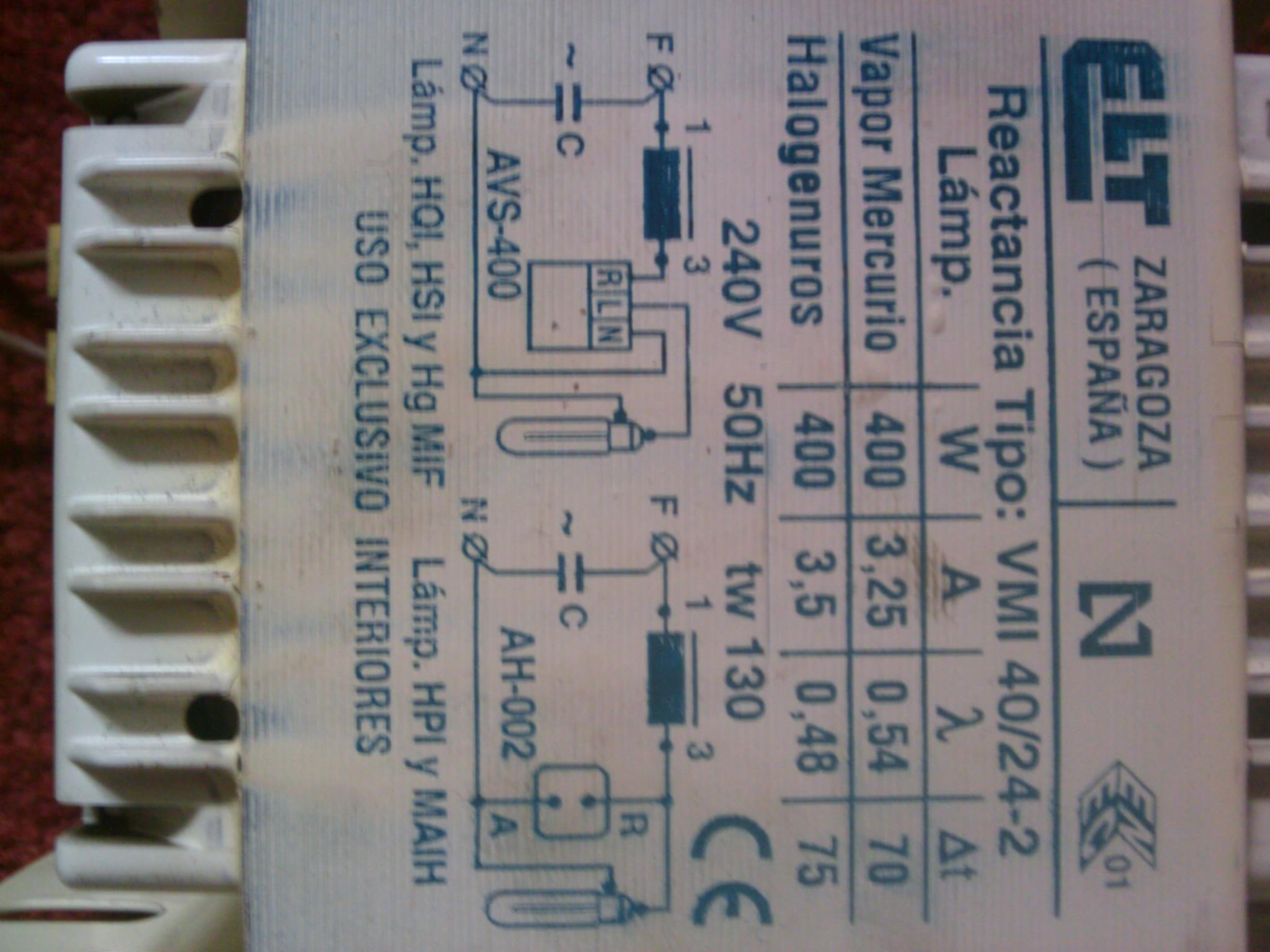 Statecznik do lampy HPS 400W.