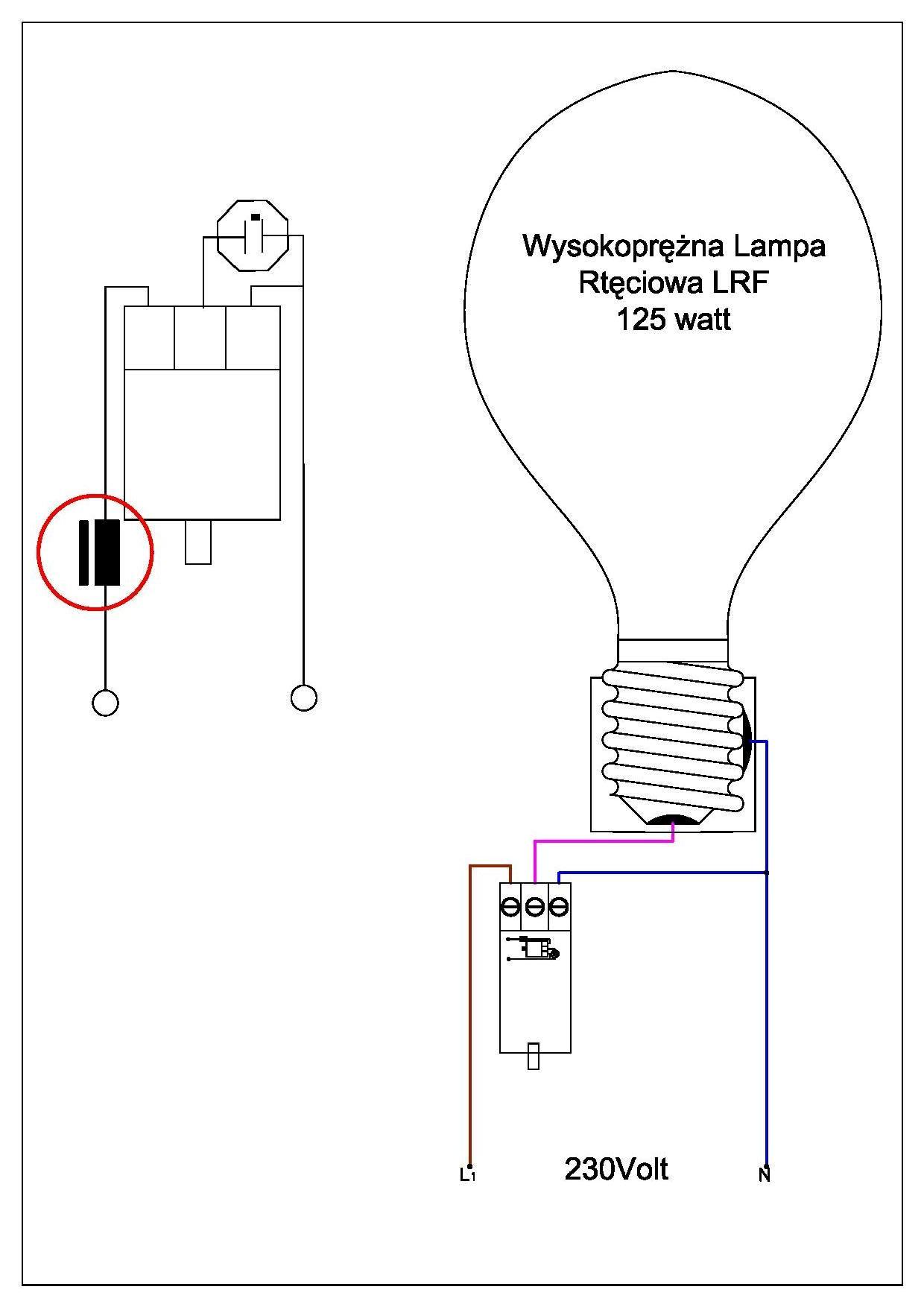 Lampa rt�ciow LRF - kwestia pod��czenia do sieci 230V