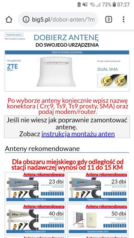 Dobór anteny do Zte 283+ 4G LTE w miejscach bez zasięgu (karta sim)