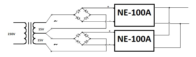NE-100A - Po��czenie r�wnoleg�e dw�ch zestaw�w
