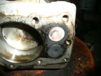 Wypalony zawór wydechowy w kosiarce tecumsech.