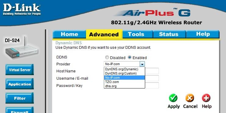 D-Link DI-524 - Dynamic DNS