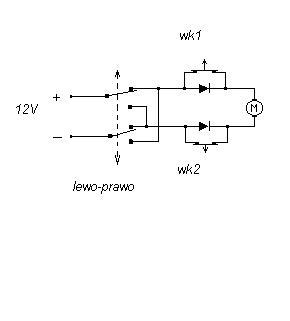 zmiana obrotów silnika prądu stałego za pomocą krańcówek