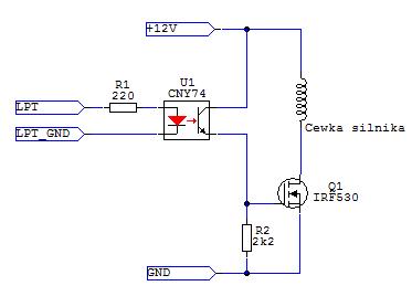 Optoizolacja portu LPT. Sterownik silnika krokowego. Zły schemat?