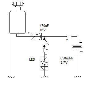 lampki + bateria nokii na dynamo - wiatr