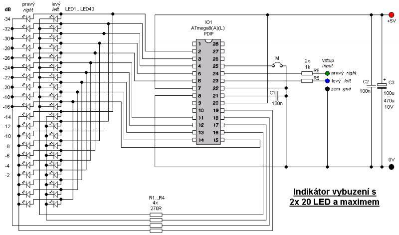 VUmetr - pionowa linijka świetlna schemat + pcb