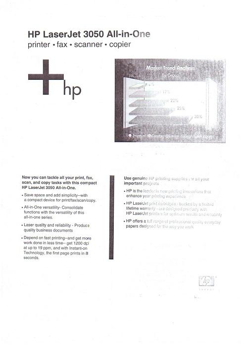 HP LaserJet 3050 - Nieczytelny wydruk na po�owie strony