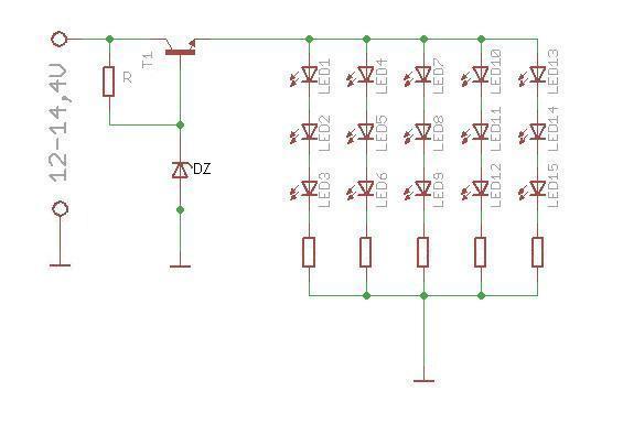 Ograniczenie pr�du diod przy napi�ciu 12-14,4V