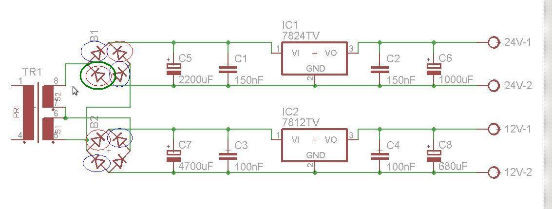 Stabilizator 7824 dostaje 24V, stabilizator 7812 dostaje 12V.