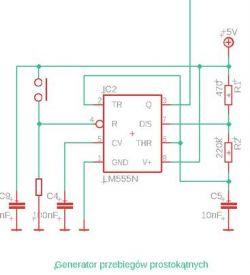 Wyzwalanie przyciskiem generatora astablinego na NE555