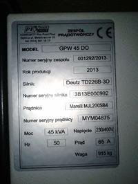 Agregat Deutz 45KW GPW 45 DO - Niestabilna praca silnika