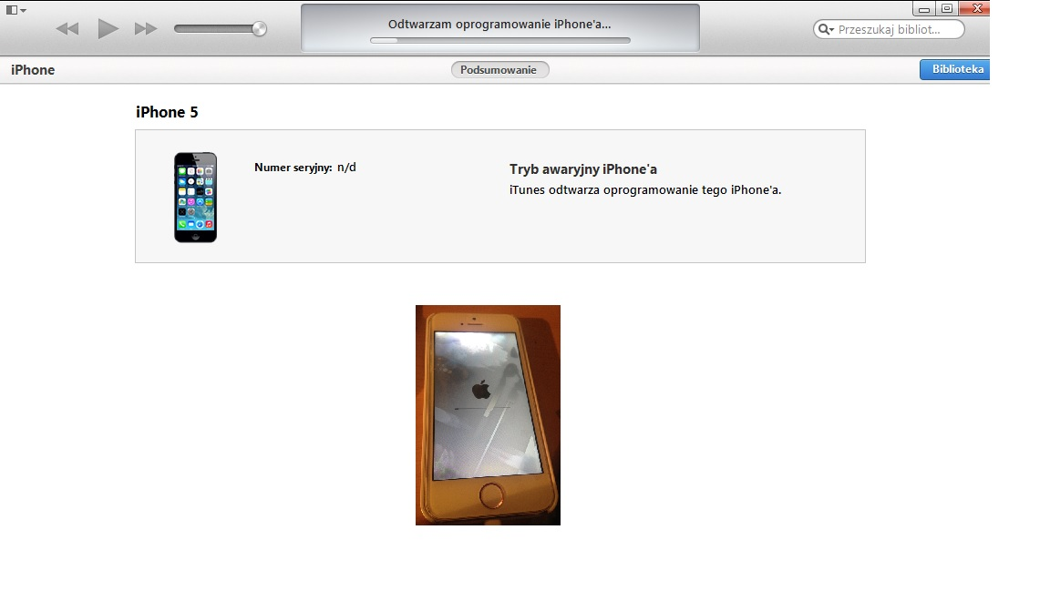 Iphone 5 - Brak mo�liwo�ci wgrania softu