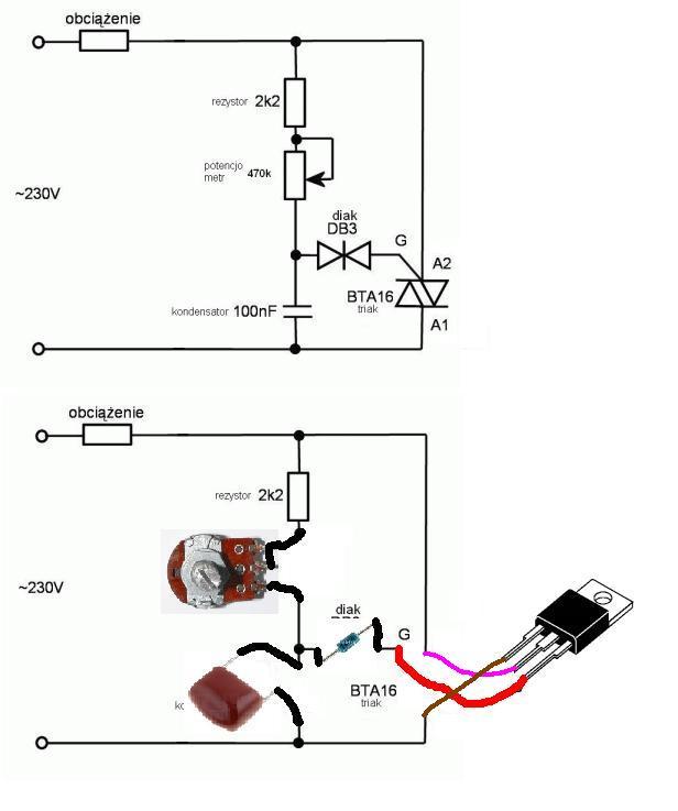 Fazowy regulator mocy na triaku - co jest nie tak?