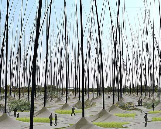 Piezoelektryczny las zamiast turbin wiatrowych