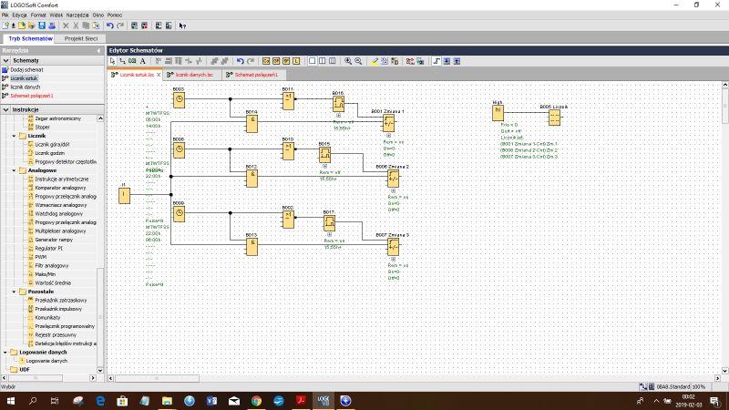 Siemens LOGO schemat licznika zmianowego z archiwizacją danych na koniec zmiany