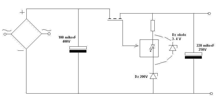 Prosty zasilacz 220V AC / 325V DC lub mniej , moc rz�du 100W.