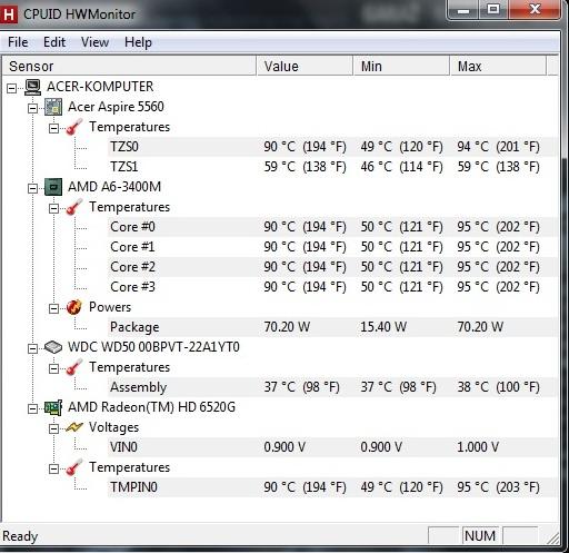 Acer Aspire 5560G - Procesor si� przegrzewa i laptop si� wy��cza.