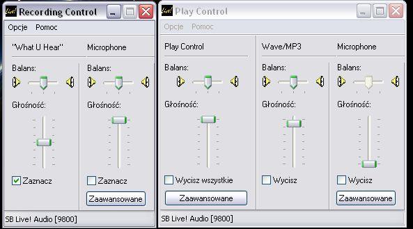 Mikrofon USB, ustawienia shoutcast.