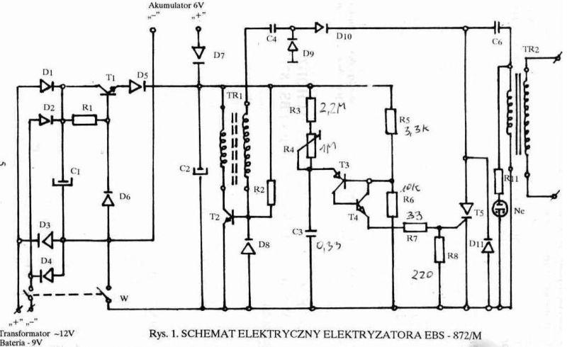 Elektryzator ebs-872 m brak ładowania Kondensator.