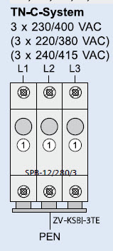 Schemat instalacji TN C na TN C S, ogranicznik przepięć, wyłącznik różnicowoprąd