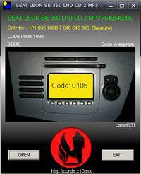 Blaupunkt Seat SE 350 - wyliczenie kodu z pliku