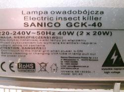 Lampa owadobójcza Sanico GC-40, świetlówki świecą tylko w parze