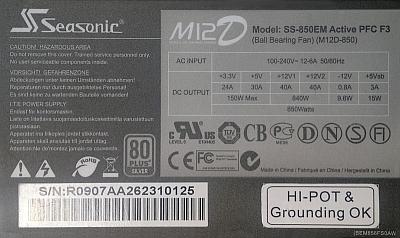 Seasonic series M12D model: SS-850EM nie startuje...