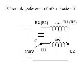 silnik jednofazowy indukcyjny klatkowy kosiarki dobór kondensatora grzanie się