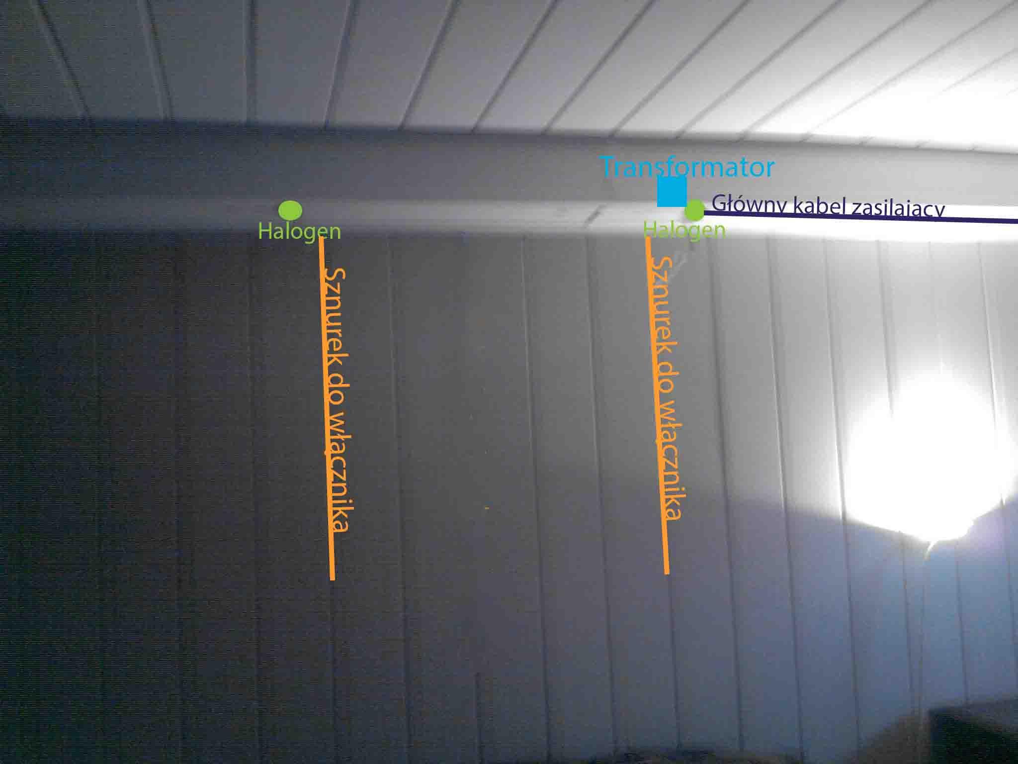 Zabudowa halogen�w pod panelami